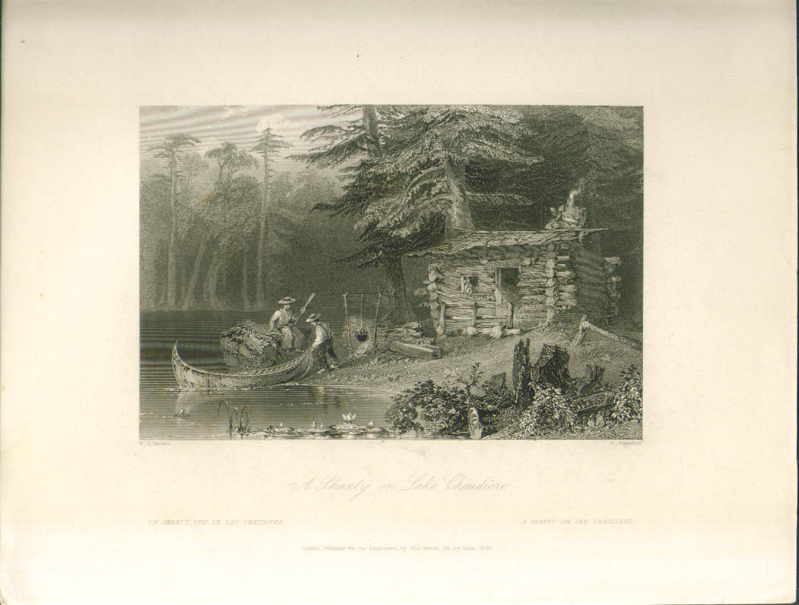 Shanty Lake Chaudiere Ontario Bartlett engraving 1840