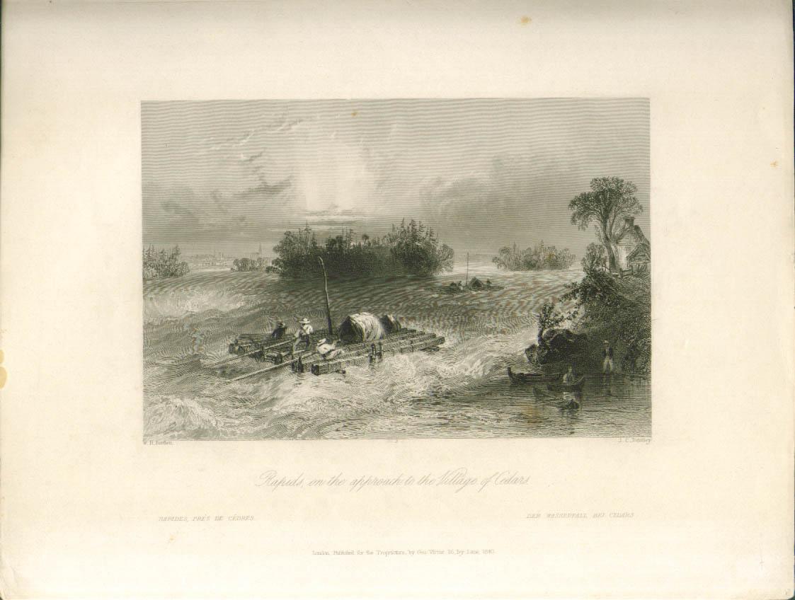 Rapids near Village of Cedars ON Bartlett engraving 1840