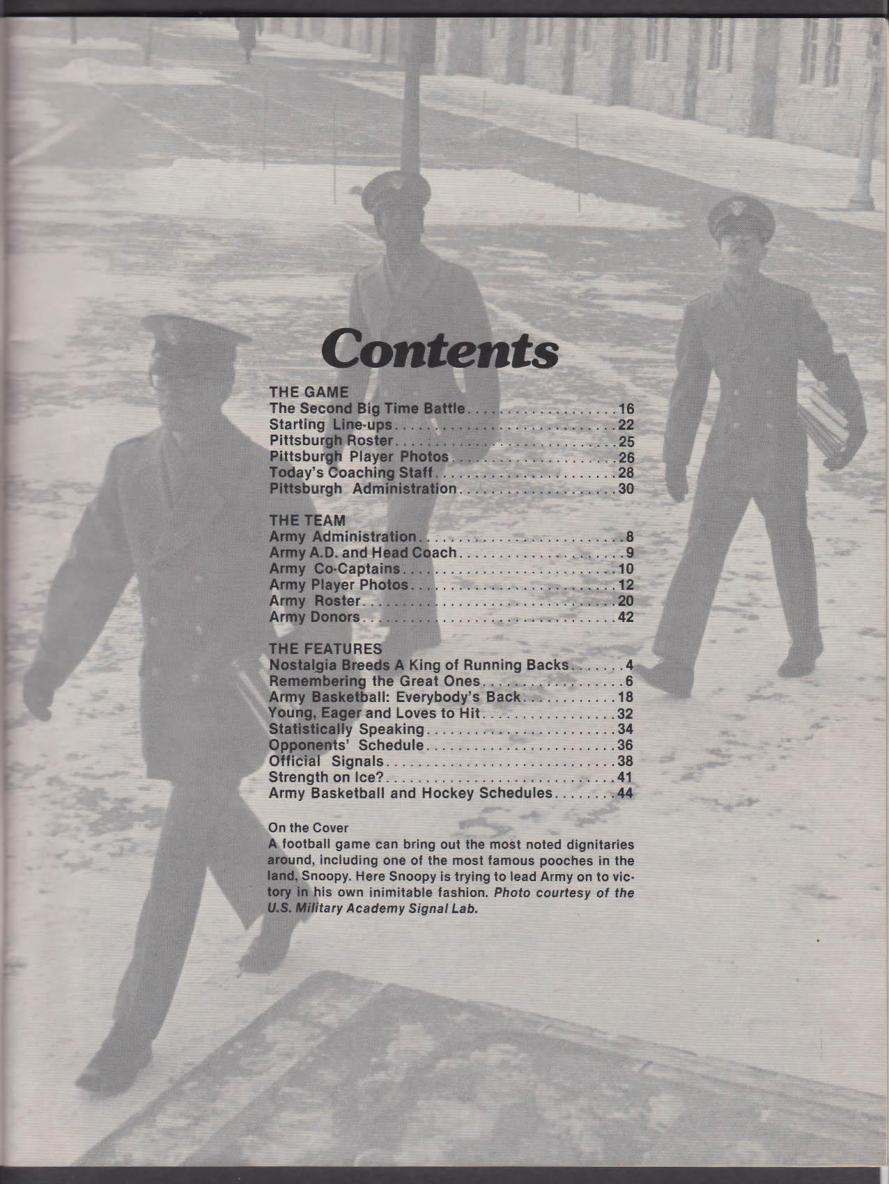 Army vs Pittsburgh Football Program 11/12/1977