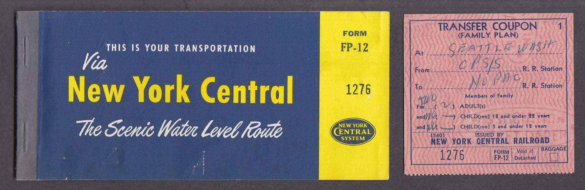 Image for New York Central ticket & transfer coupon 1957