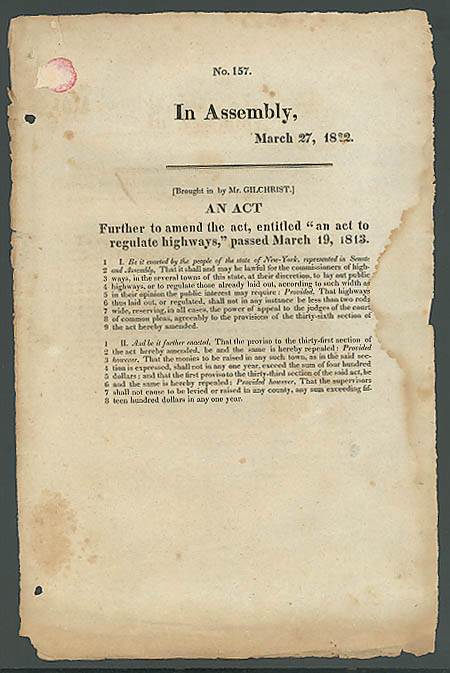 1822 New York State highway regulation act