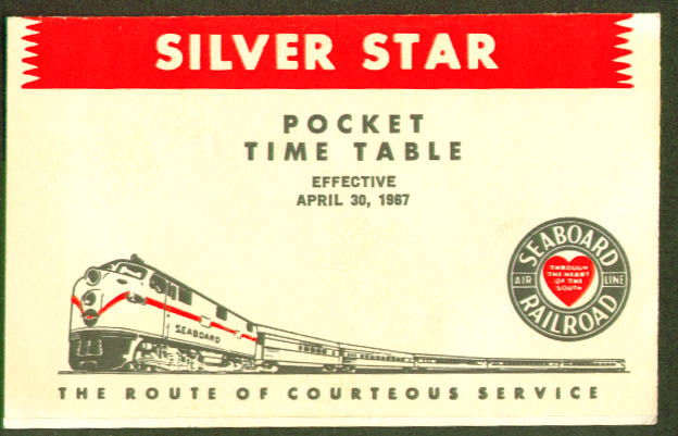 Image for Seaboard Railroad Silver Star Pocket Timetable 1967
