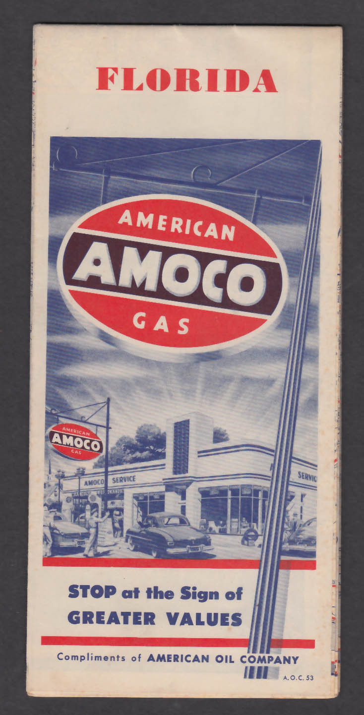 1953 Amoco American Gas Florida Road Map