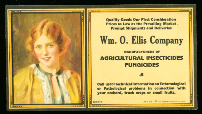 Image for William O Ellis Company Agricultural Insecticides advertising blotter 1927