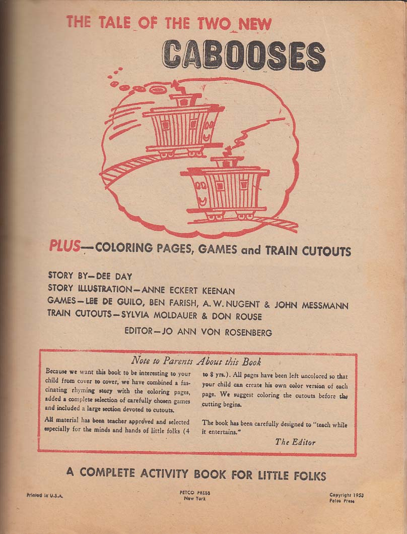 Image for Two New Cabooses Activity Book 1953