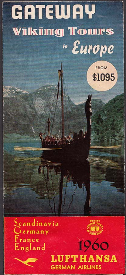 Image for 1960 Lufthansa German Airlines Viking Tours to Europe airline brochure