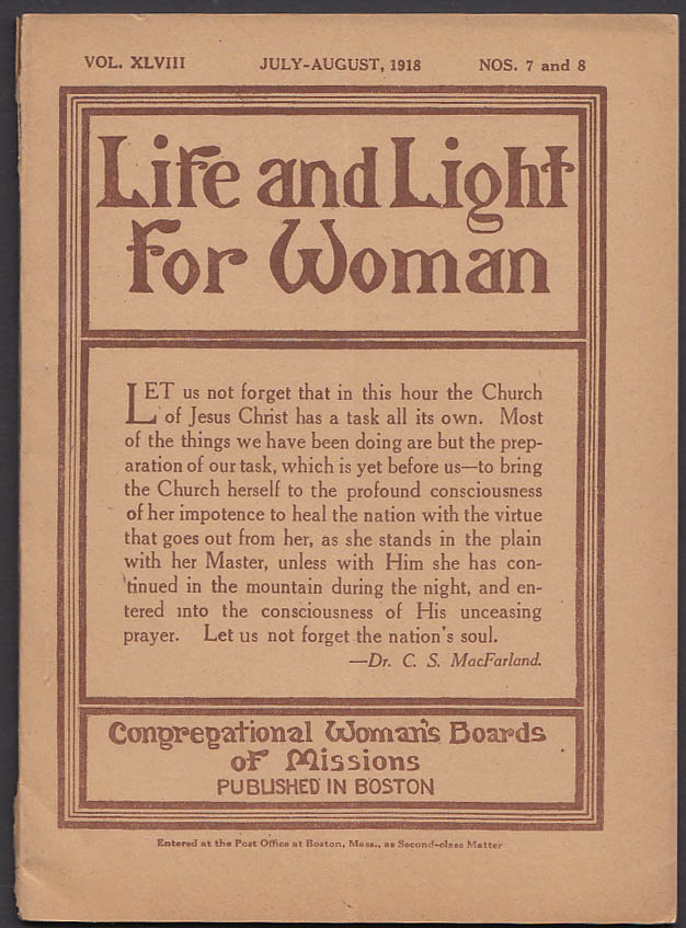 Image for Life & Light for Woman: Congregational Woman's Boards of Missions 7-8 1918 issue