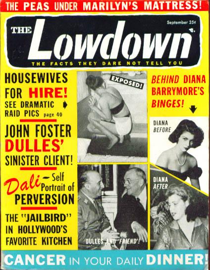 Image for LOWDOWN Diana Barrymore Marilyn Monroe Dali Errol Flynn Magnani 9 1956