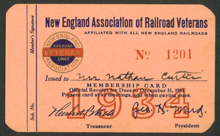 Image for New England Association of Railroad Veterans Membership Card 1934