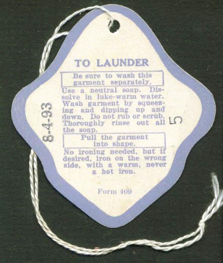 Vanity Fair Tasket Rayon Underwear laundry tag 40s