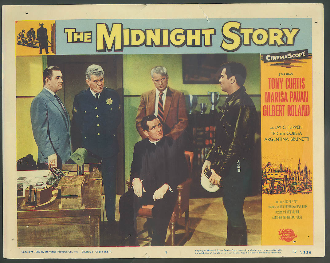 Image for Tony Curtis The Midnight Story lobby card 1957