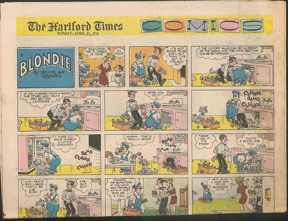 Image for Blondie Flash Gordon Hartford Times Comics 4/21/74