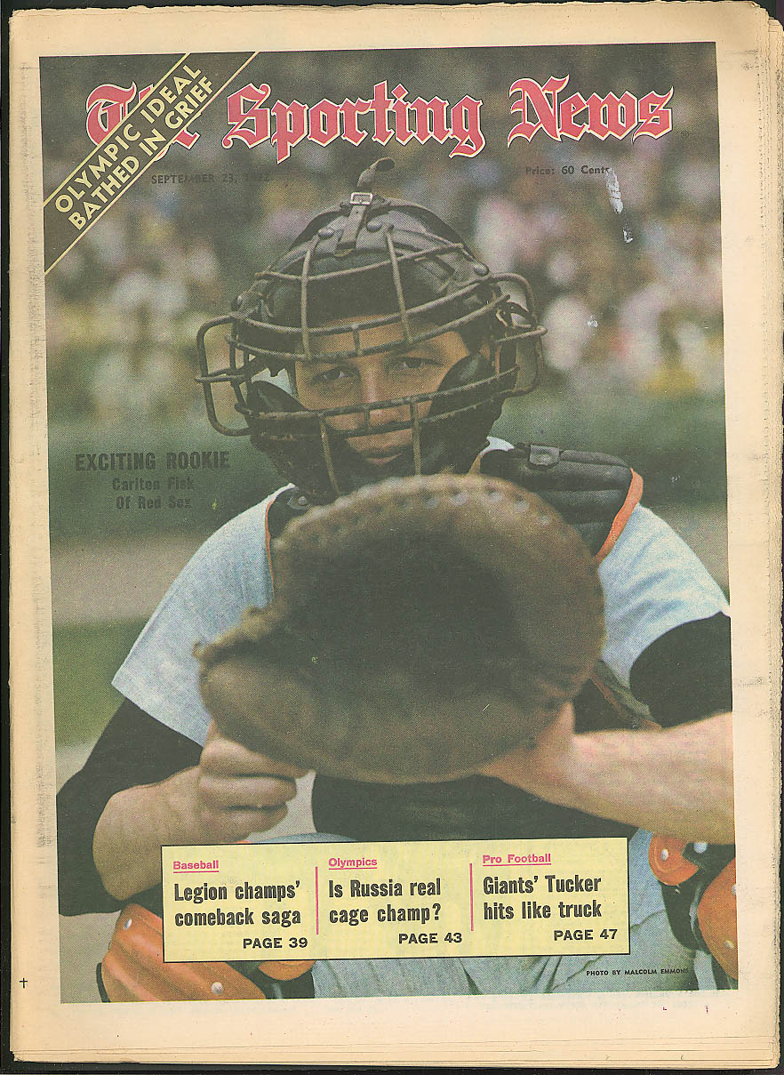 SPORTING NEWS Carlton Fisk Killebrew Houk McNally John Mayberry ++ 9/23 1972