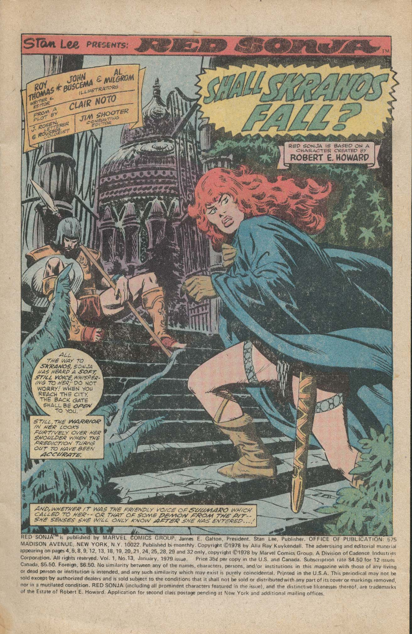 RED SONJA #13 Marvel comic book Conan 1 1979