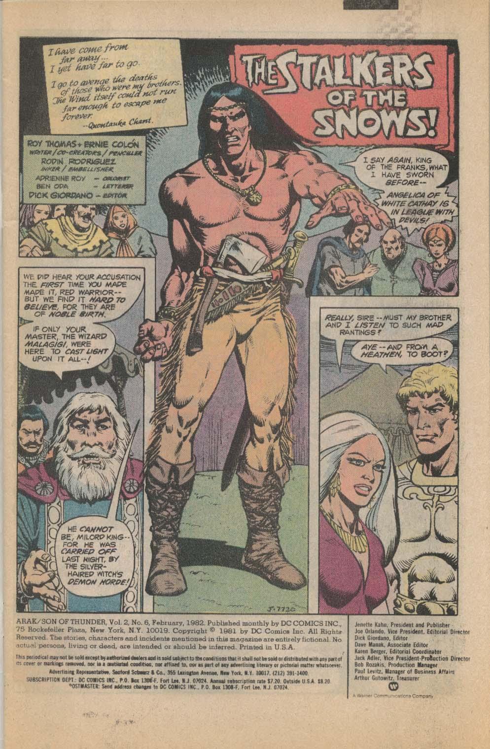 Image for ARAK Son of Thunder #6 DC Comic Book 2 1982
