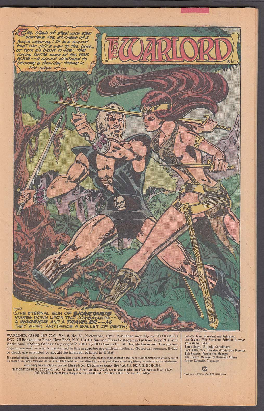 Image for WARLORD #51 DC comic book 11 1981