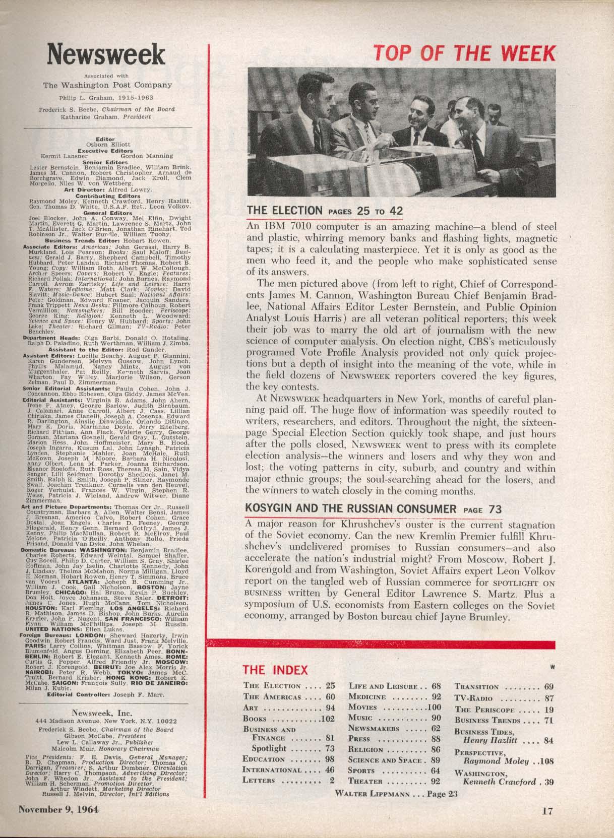 NEWSWEEK Lyndon Johnson Election IBM 7010 11/9 1964