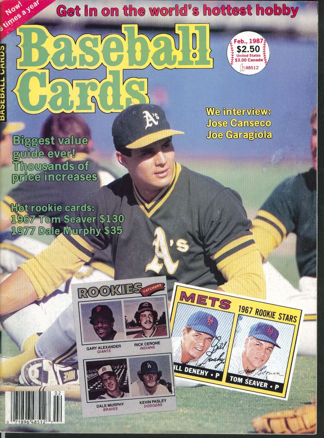 BASEBALL CARDS Jose Canseco Joe Garagiola Rookie 2 1987
