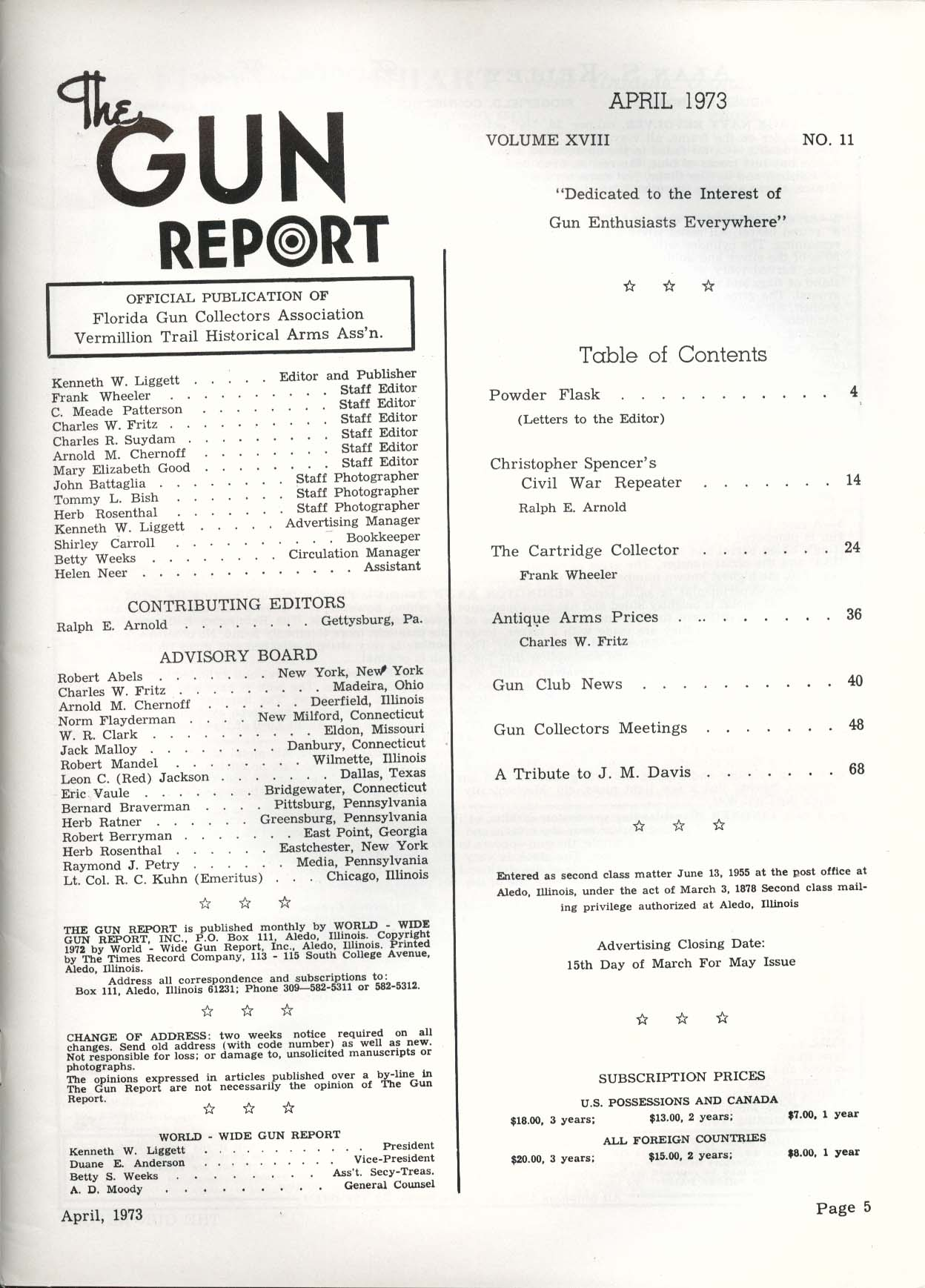 GUN REPORT Christopher Spencer Civil War Navy Repeater 4 1973