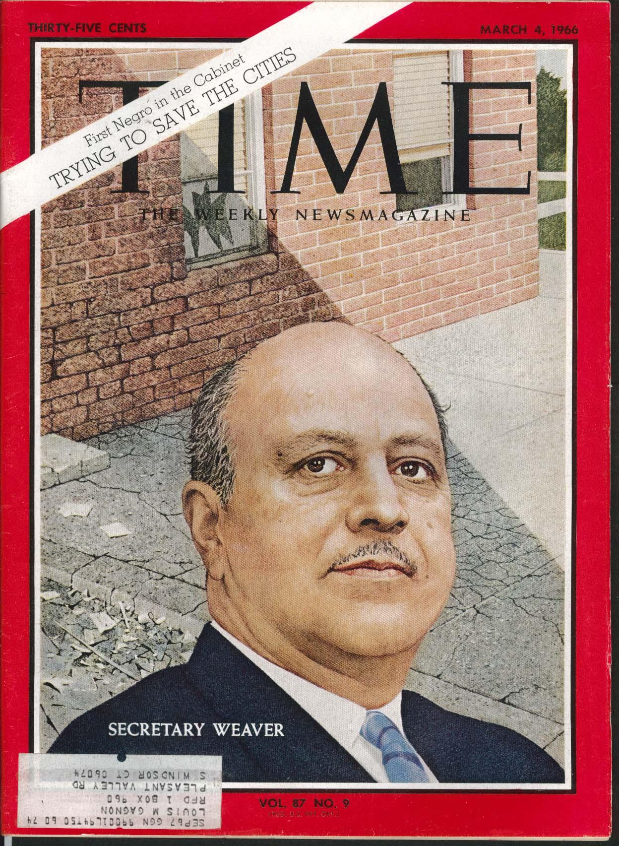 TIME Secretary Weaver 1st Negro Cabinet Member 3/4 1966