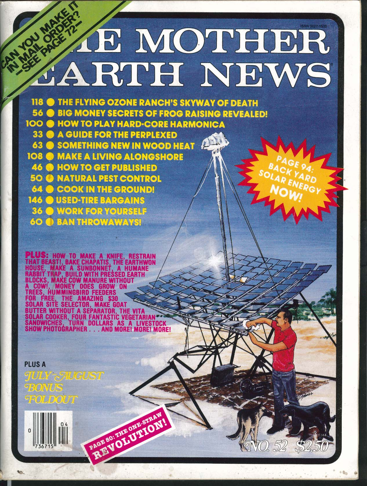 MOTHER EARTH NEWS 52 Flying Ozone Ranch Frog Raising Harmonica Pest Control 1978