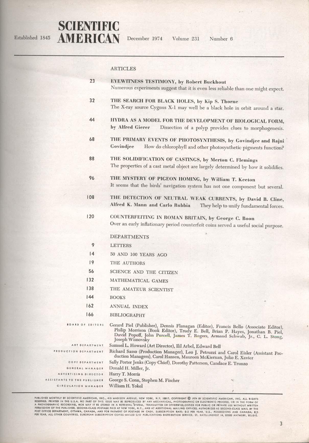 SCIENTIFIC AMERICAN Black Hole Cygnus X-1 Hydra Photosynthesis Gliders 12 1974
