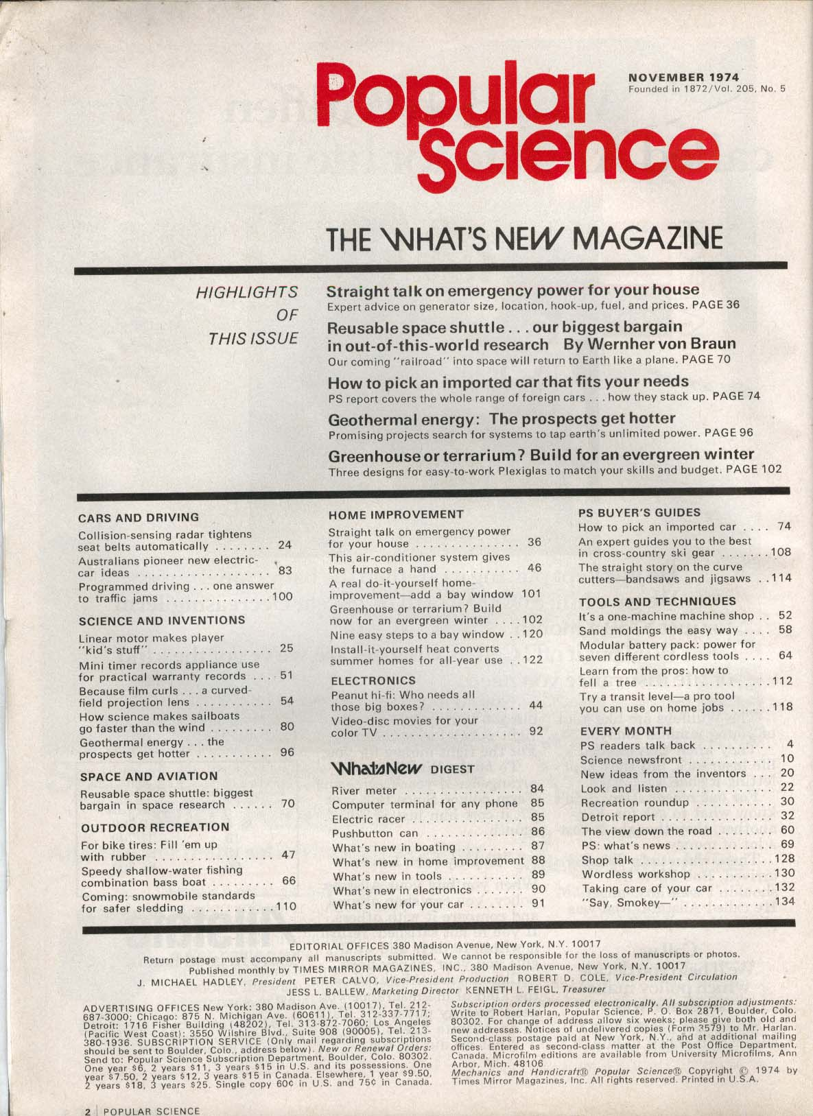 POPULAR SCIENCE Space Shuttle Geothermal Energy Imported Cars ++ 11 1974