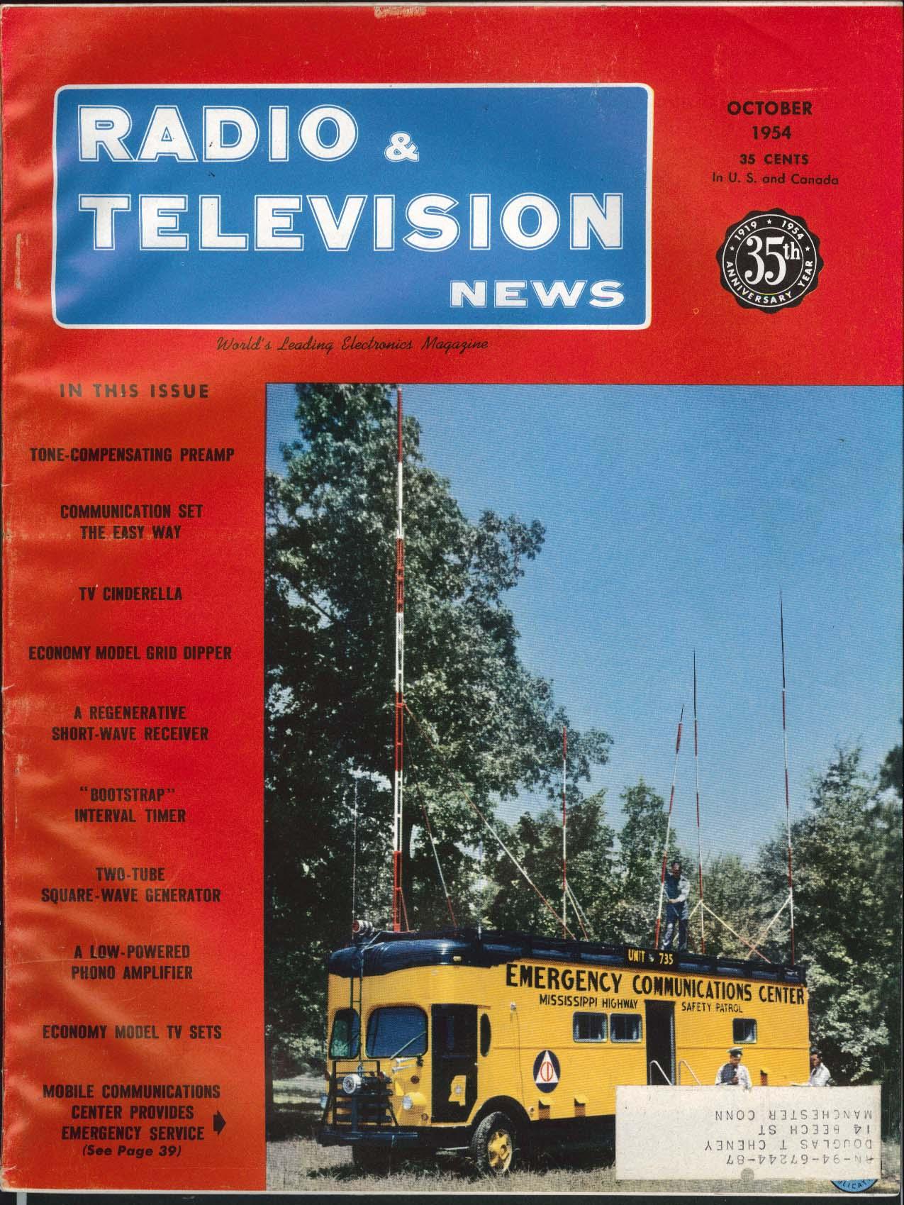 RADIO & TELEVISION NEWS Tone-Compensating Preamp Economy Model TV Sets 10 1954