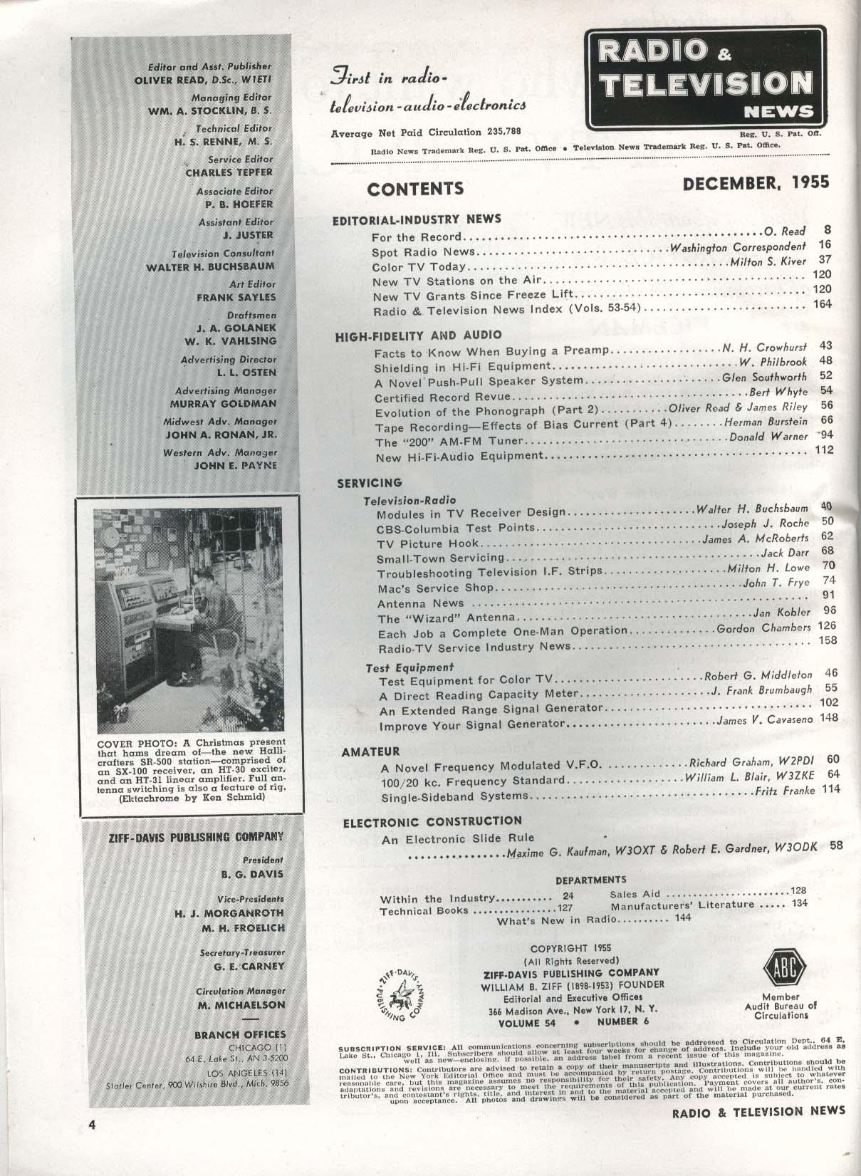 RADIO-ELECTRONICS Color TV Wide-Range Speaker System TV Cross-Hatch ++ 10 1954