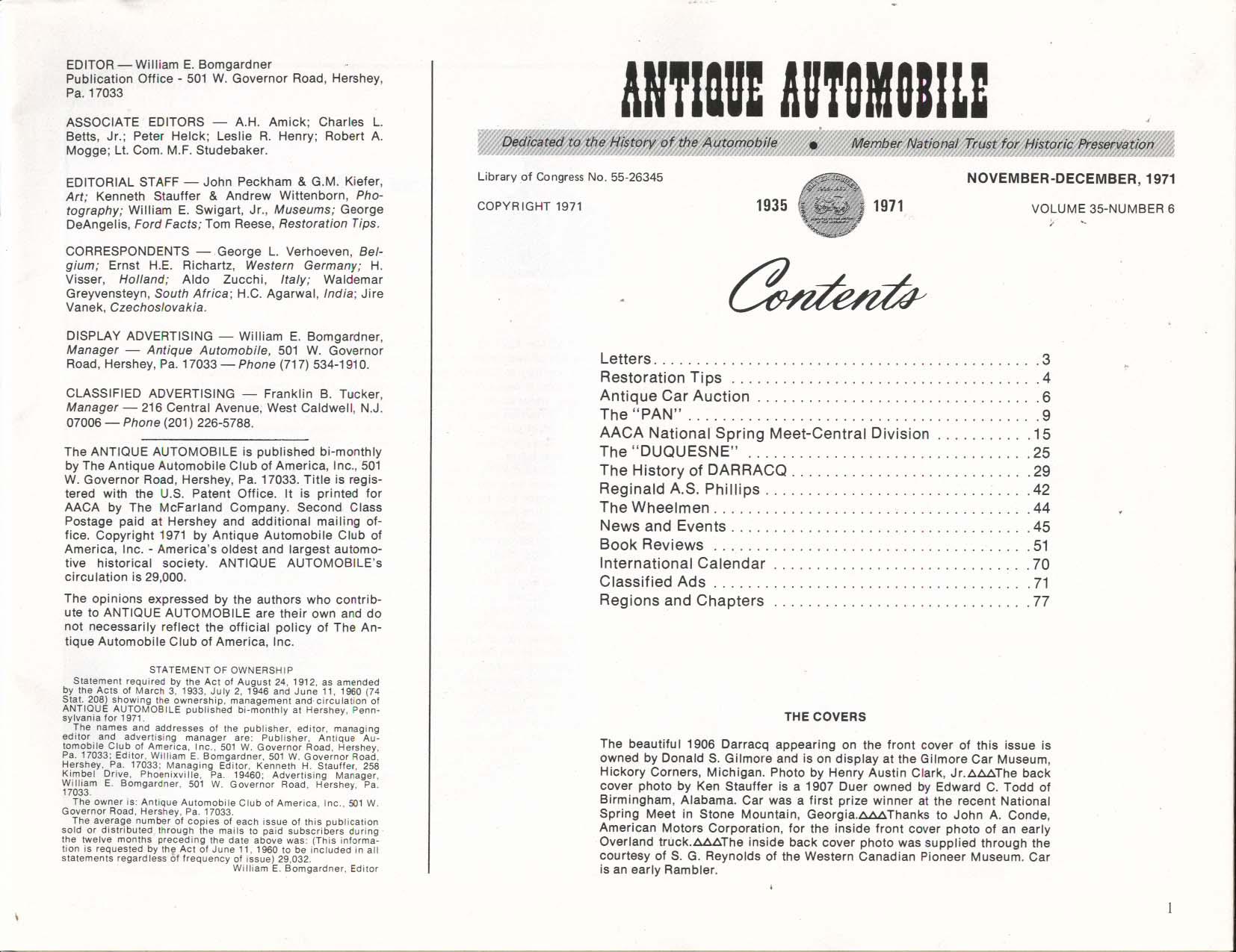 Image for ANTIQUE AUTOMOBILE Pan Duquesne DARRACQ Reginald A S Phillips ++ 11/12 1971