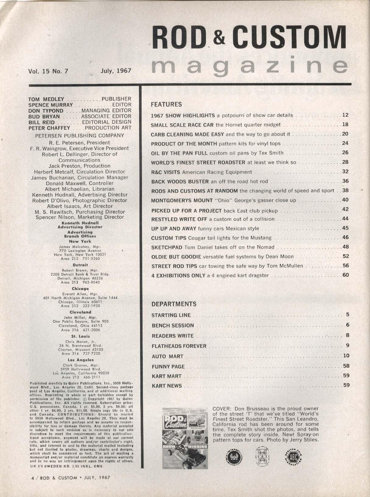 ROD & CUSTOM Hornet Quarter Midget Tex Smith Custom Oil Pans Ohio George 7 1967