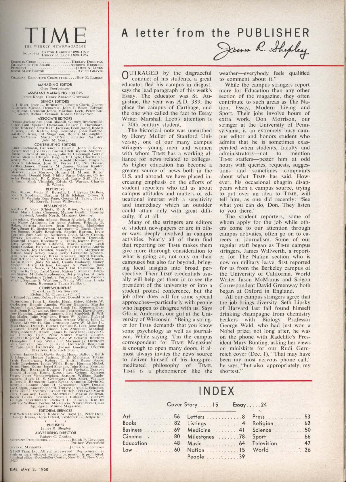 TIME Hubert Humphrey Vietnam Viet Cong Israel 20th Anniversary 5/3 1968