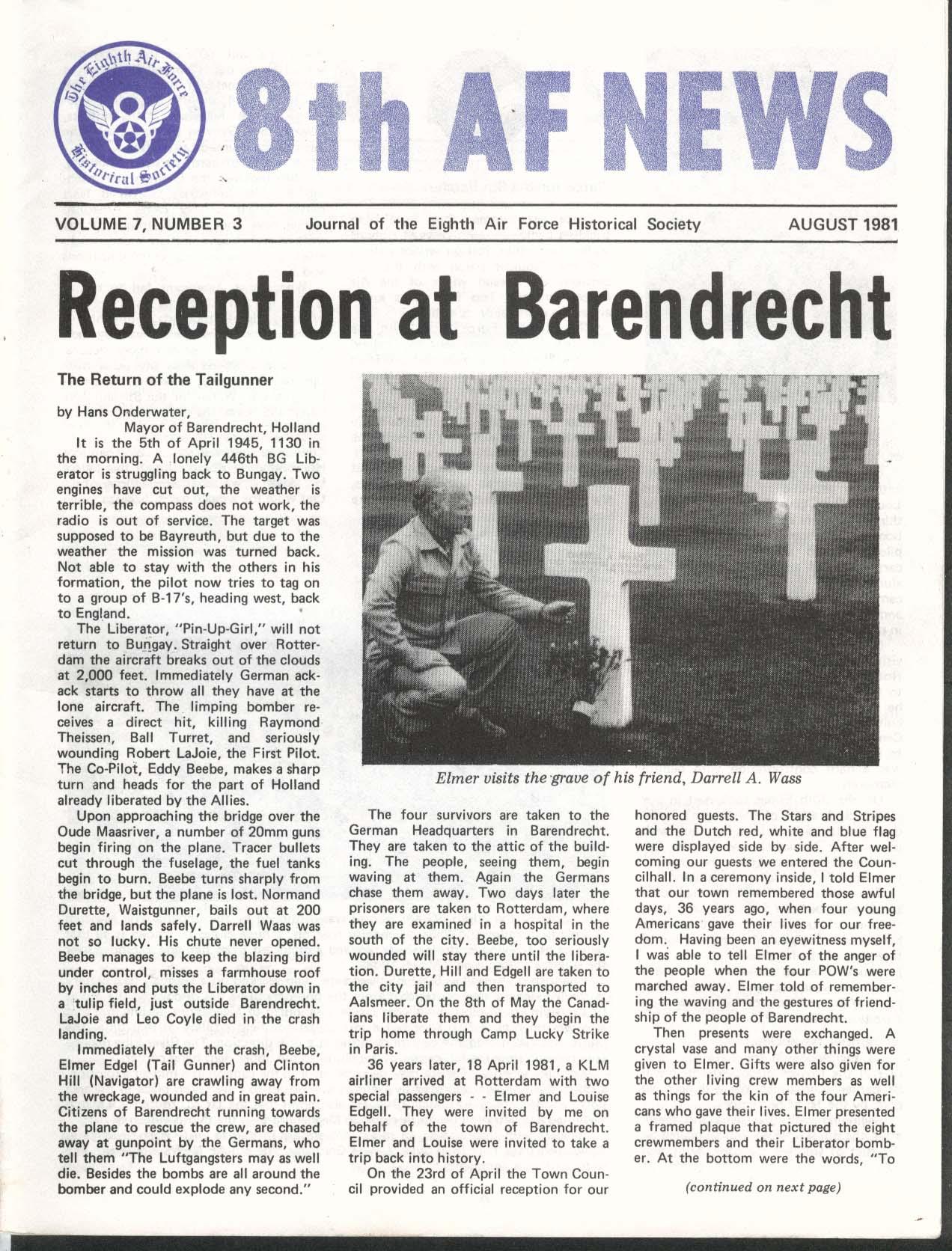 8th AF NEWS Hans Onderwater Elmer Edgel Manchester Misses Air Force ++ 8 1981