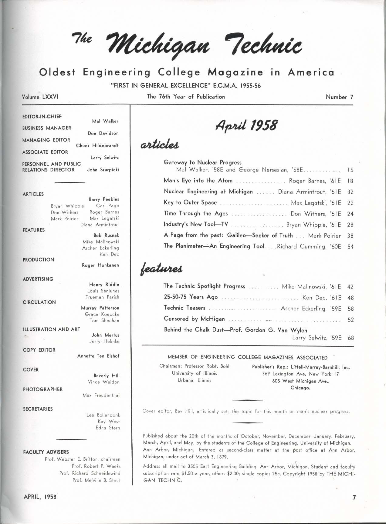 MICHIGAN TECHNIC Nuclear Progress Roger Barnes Mal Walker ++ 4 1958