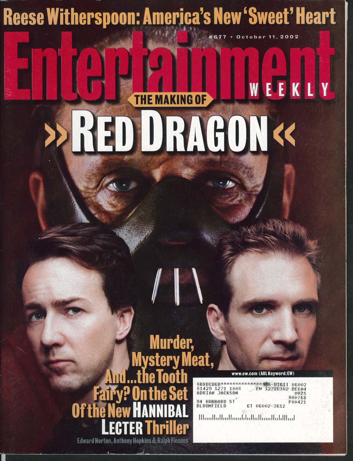 ENTERTAINMENT WEEKLY Red Dragon Anthony Hopkins Reese Witherspoon ++ 10/11 2002