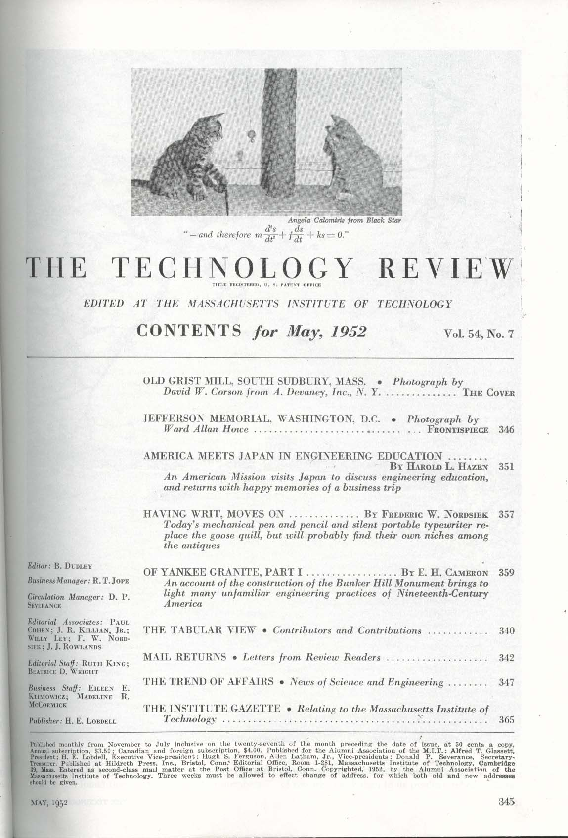 TECHNOLOGY REVIEW Japanese Engineering Education Bunker Hill Monument 5 1952
