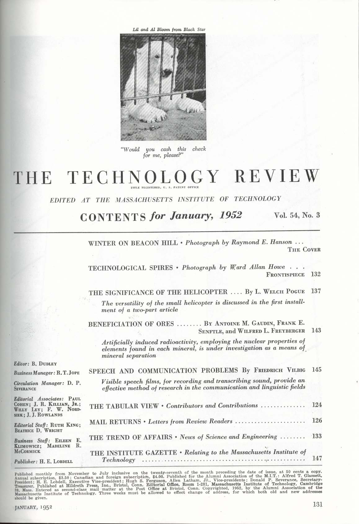 TECHNOLOGY REVIEW Helicopter Development Artificial Induced Radioactivity 1 1952