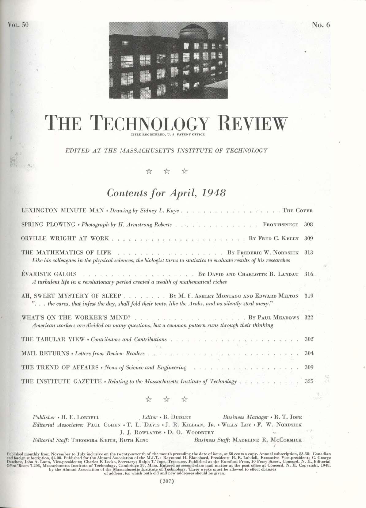 Image for TECHNOLOGY REVIEW Orville Wright Evariste Galois Frederick Nordsiek ++ 4 1948