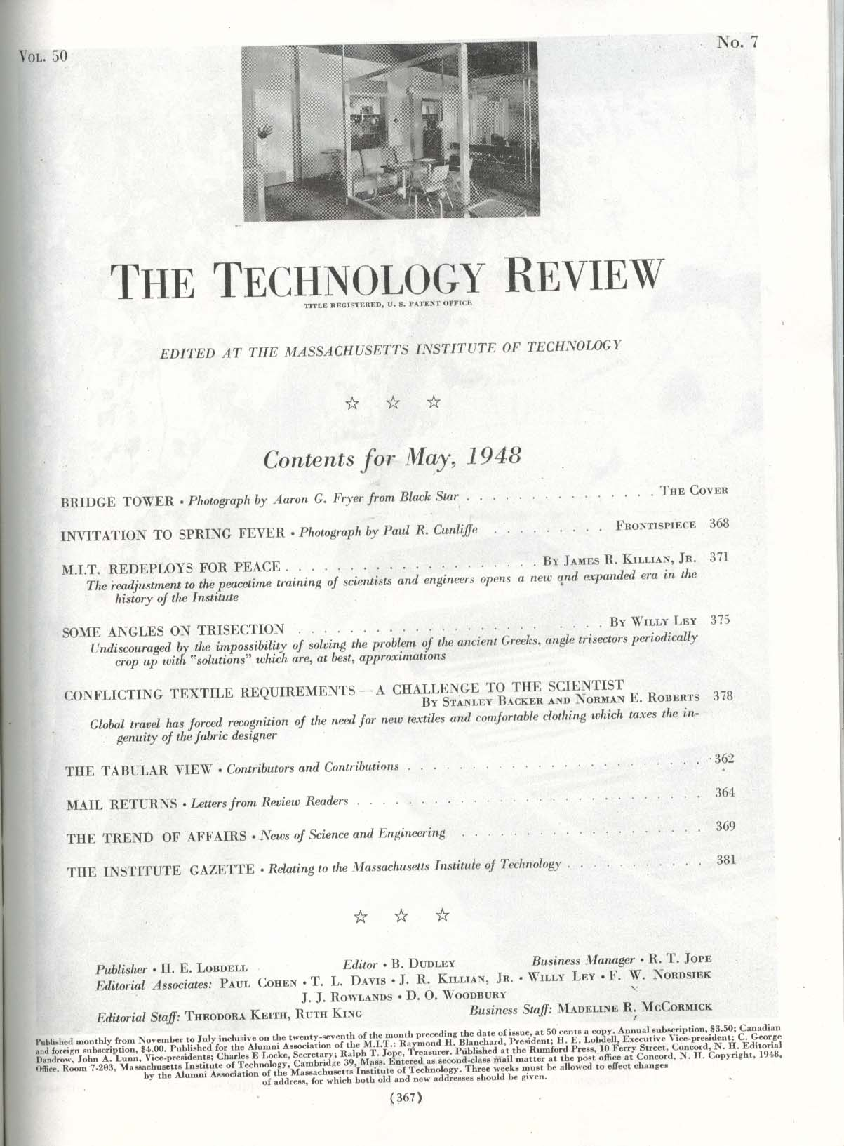 TECHNOLOGY REVIEW Massachusetts Institute peacetime training textile ++ 5 1948