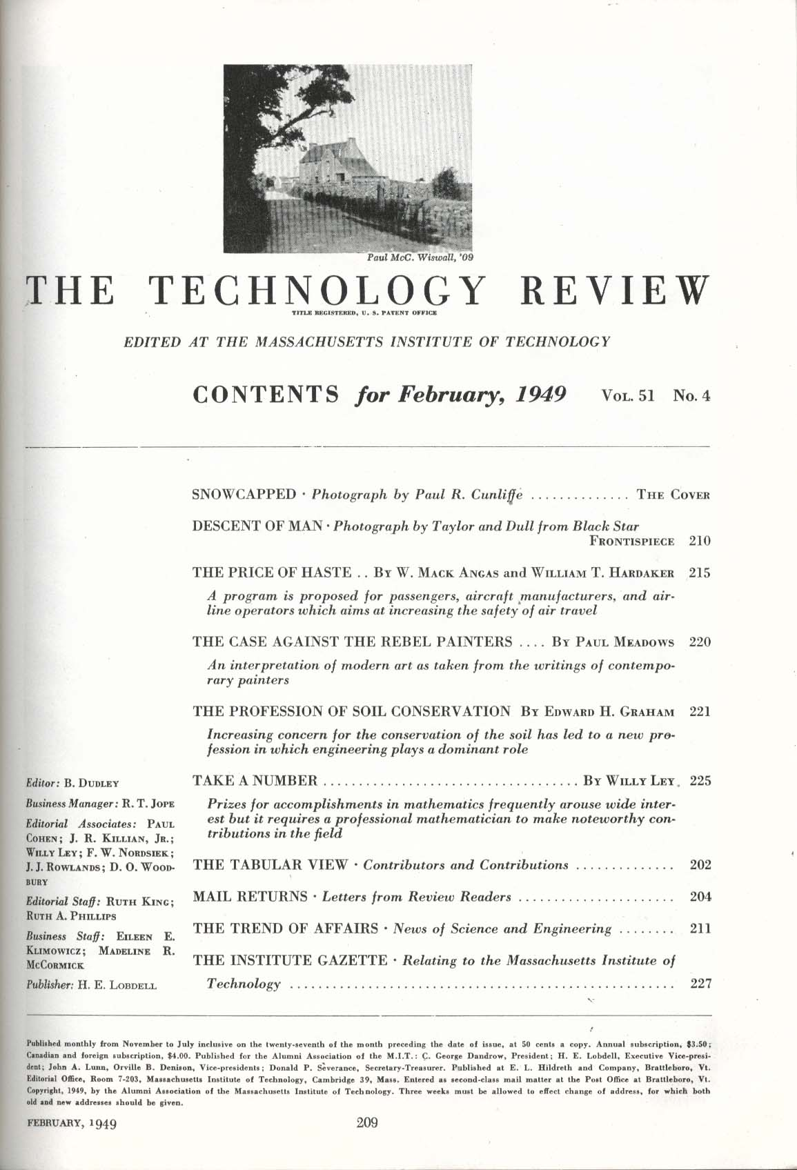 TECHNOLOGY REVIEW Soil Conservation Aircraft Manufacturers Airline Safety 2 1949