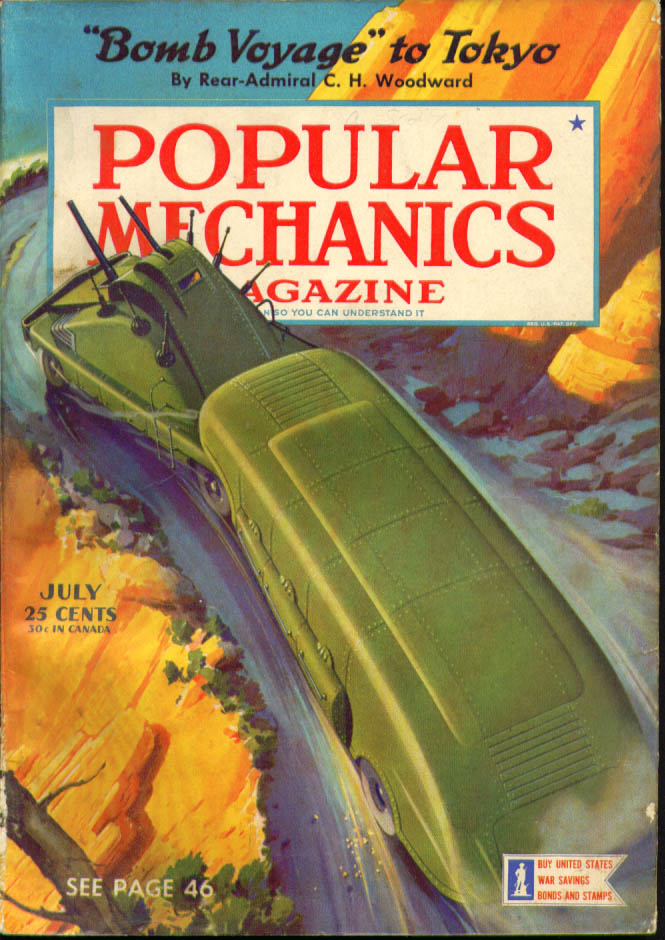 POPULAR MECHANICS Rear Admiral Woodward Tokyo black light ++ 7 1942