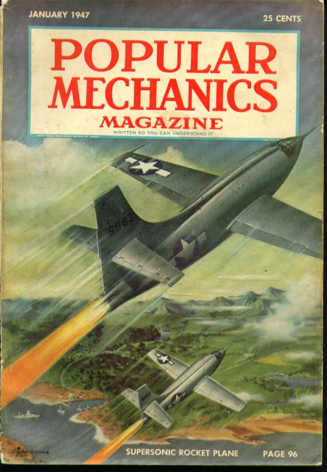 POPULAR MECHANICS Supersonic Rocket Plane Hot Rod Racing Mationettes ++ 1 1947