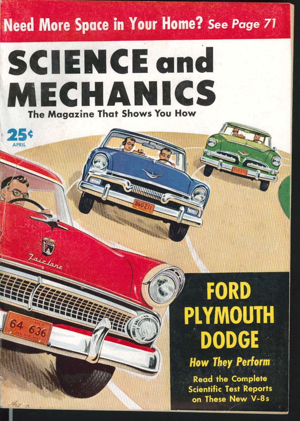 SCIENCE & MECHANICS Ford Plymouth Dodge V-8 road tests 4 1955
