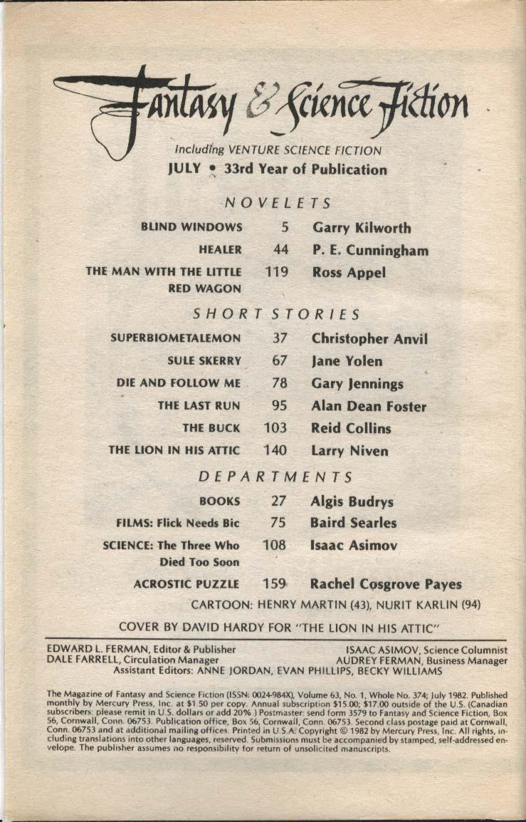 FANTASY & SCIENCE FICTION Alan Dean Foster Larry Niven Jane Yolen 7 1982