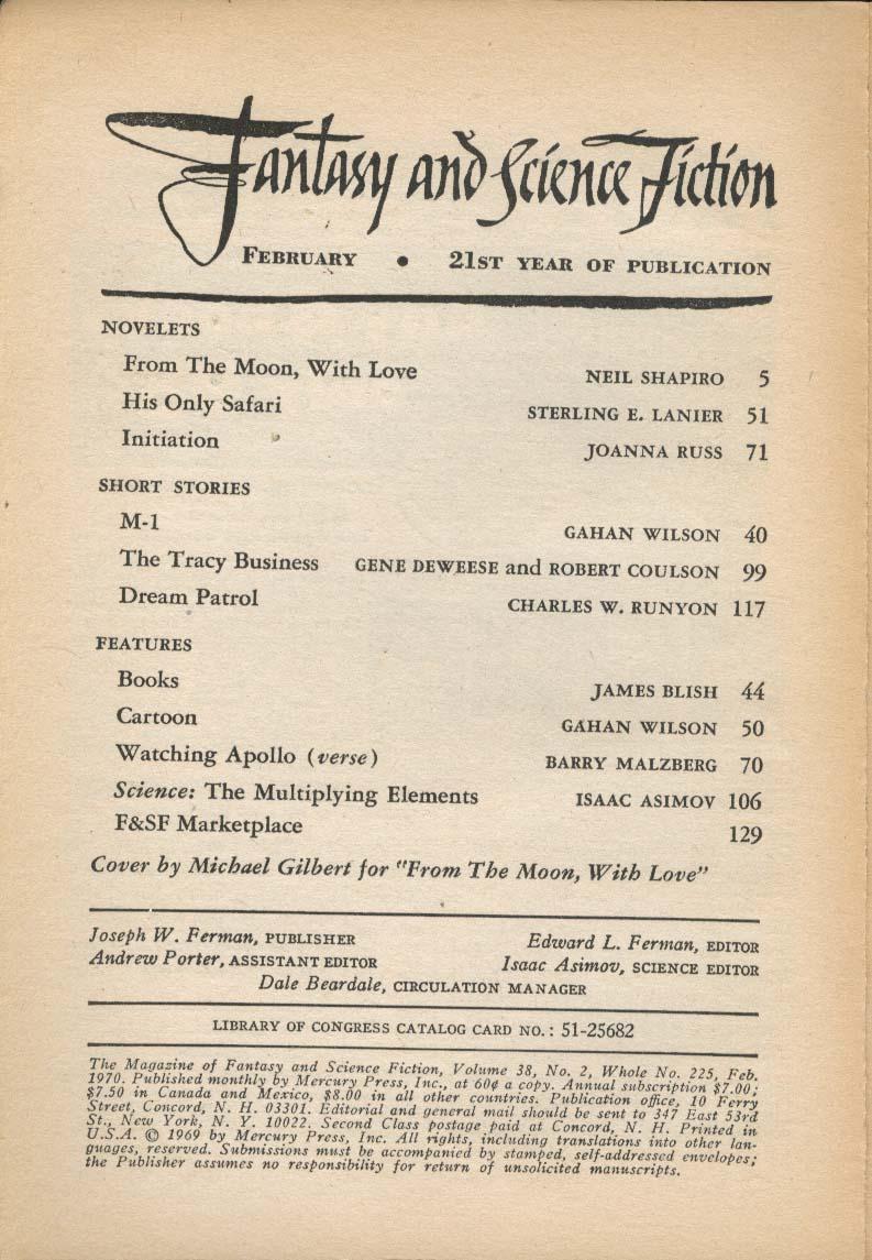 FANTASY & SCIENCE FICTION Isaac Asimov James Blish Joanna Russ 2 1970