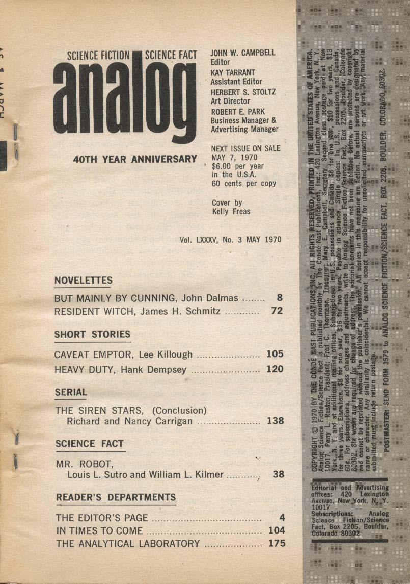 ANALOG John Dalmas James Schmitz Lee Killough Hank Dempsey Nancy Carrigan 5 1970