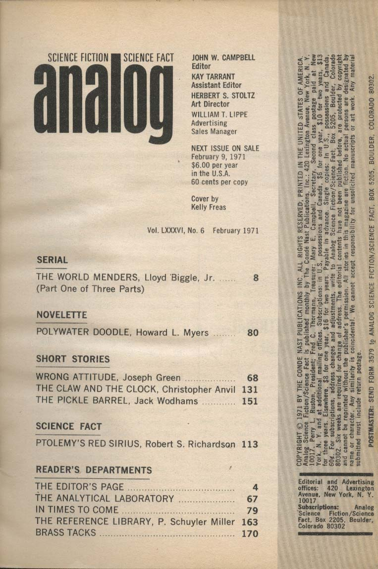 ANALOG Lloyd Biggle Jr Howard Myers Joseph Green Christopher Anvil ++ 2 1971