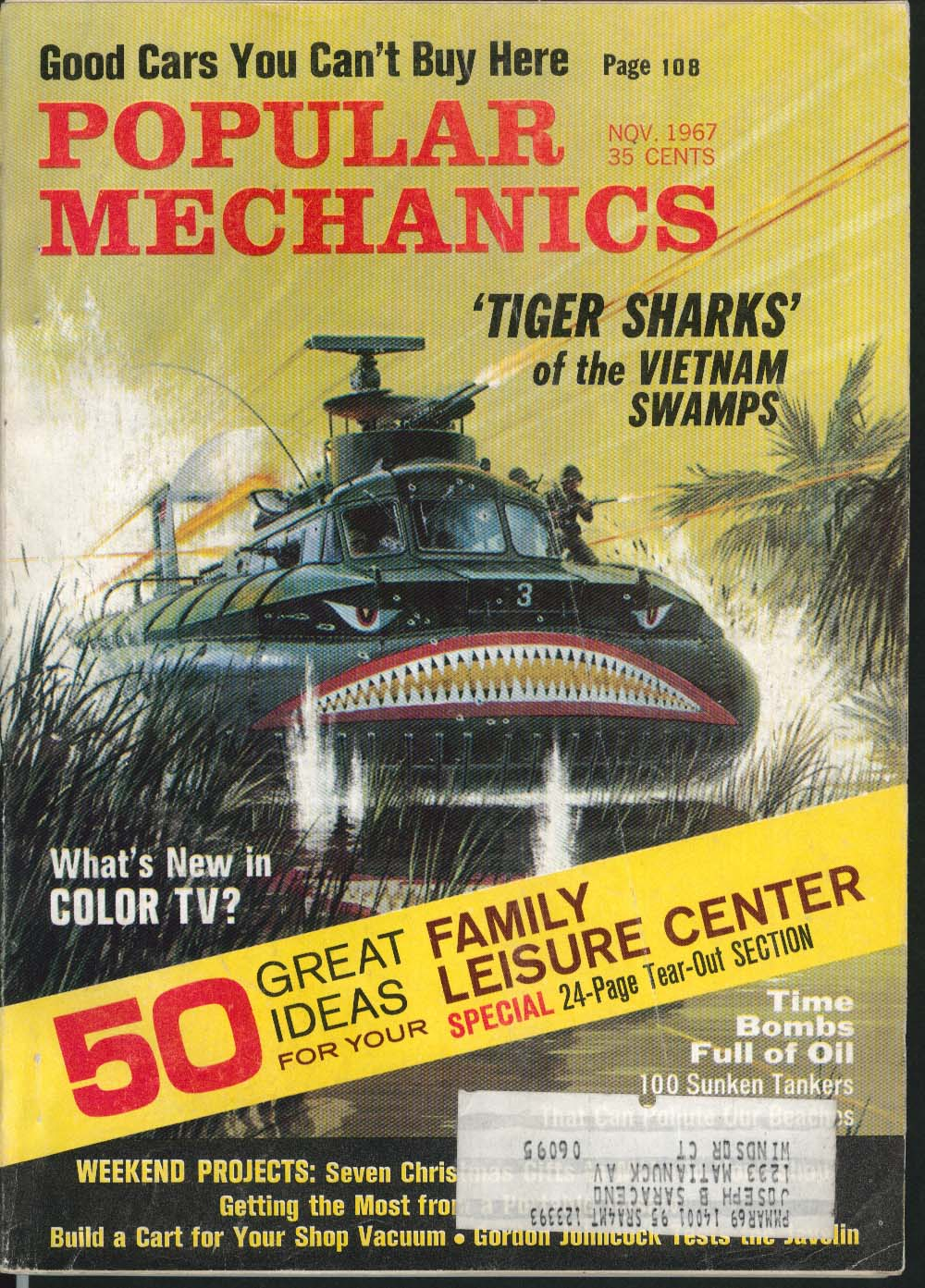 Image for POPULAR MECHANICS Tiger Sharks Vietnam Swamps Audi Triumph Taunus ++ 11 1967