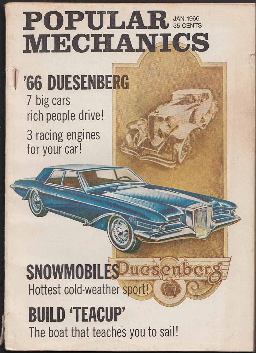 Image for POPULAR MECHANICS Duesenberg Snowmobiles Lincoln Jaguar tests ++ 1 1966