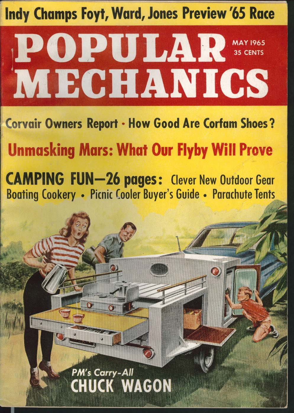 POPULAR MECHANICS Foyt Ward Jones Indy Corvair Corfam Shoes Mars Flyby ++ 5 1965